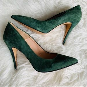 Barney's New York Sueded Leather Heels Hunter Grn